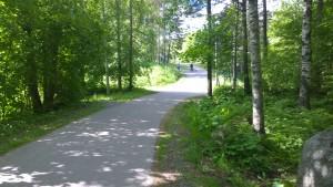 Pyörätietä Lukonmäen puolella Hervannan valtaväylää